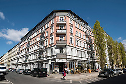 View of renovated  traditional old apartment buildings in Prenzauer Berg in Berlin Germany