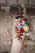 Model shoot at Lillesden School for Girls, model Emma Meyrowitz, flowers by Harriet Parry.