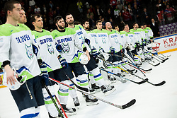 Ales Kranjc of Slovenia, Rok Ticar of Slovenia, Sabahudin Kovacevic of Slovenia after the 2017 IIHF Men's World Championship group B Ice hockey match between National Teams of Slovenia and Norway, on May 9, 2017 in Accorhotels Arena in Paris, France. Photo by Vid Ponikvar / Sportida