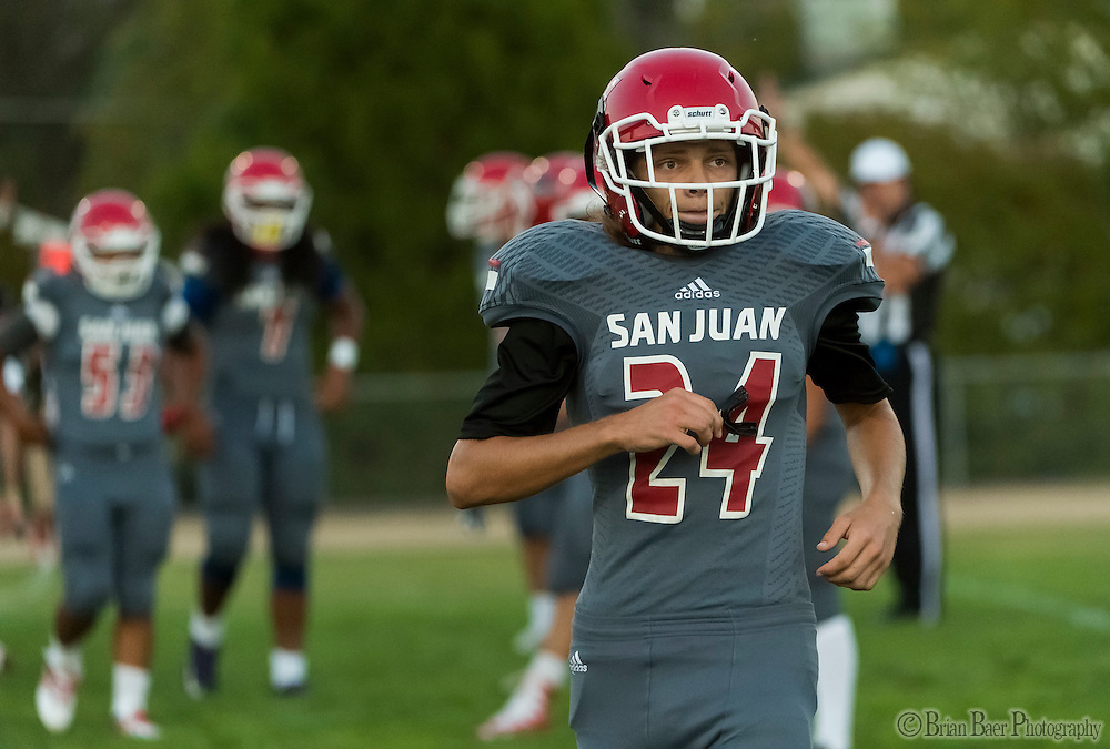 San Juan Spartans Damien Nuss-Guillot (24), looks for the play during his first ever high school football game during the first quarter as the San Juan Spartans host the Mira Loma Matadors, Friday Sep 16, 2016.<br /> photo by Brian Baer