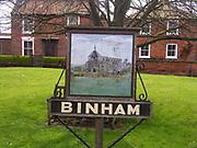 A4TRA5 Binham priory village sign Norfolk England