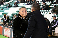 Crawley Town manager John Yems   shakes hands with Plymouth Argyle manager Ryan Lowe during the EFL Sky Bet League 2 match between Plymouth Argyle and Crawley Town at Home Park, Plymouth, England on 28 January 2020.