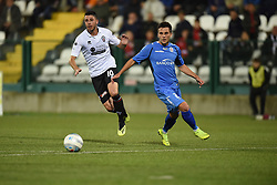 November 3, 2018 - Vercelli, Italy - Italian midfielder Massimiliano Gatto from Pro Vercelli team playing during Saturday evening's match against Novara Calcio valid for the 10th day of the Italian Lega Pro championship and Italian defender Angelo Tartaglia from Novara Calcio team playing during Saturday evening's match against Pro Vercelli team valid for the 10th day of the Italian Lega Pro championship  (Credit Image: © Andrea Diodato/NurPhoto via ZUMA Press)