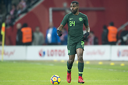 March 23, 2018 - Wroclaw, Poland - Brian Idowu of Nigeria with the ball during the international friendly match between Poland and Nigeria at Wroclaw Stadium in Wroclaw, Poland on March 23, 2018  (Credit Image: © Andrew Surma/NurPhoto via ZUMA Press)
