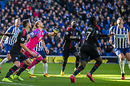 Vicente Guaita (GK) (Crystal Palace) and players looking up to the ball during the Premier League match between Brighton and Hove Albion and Crystal Palace at the American Express Community Stadium, Brighton and Hove, England on 29 February 2020.