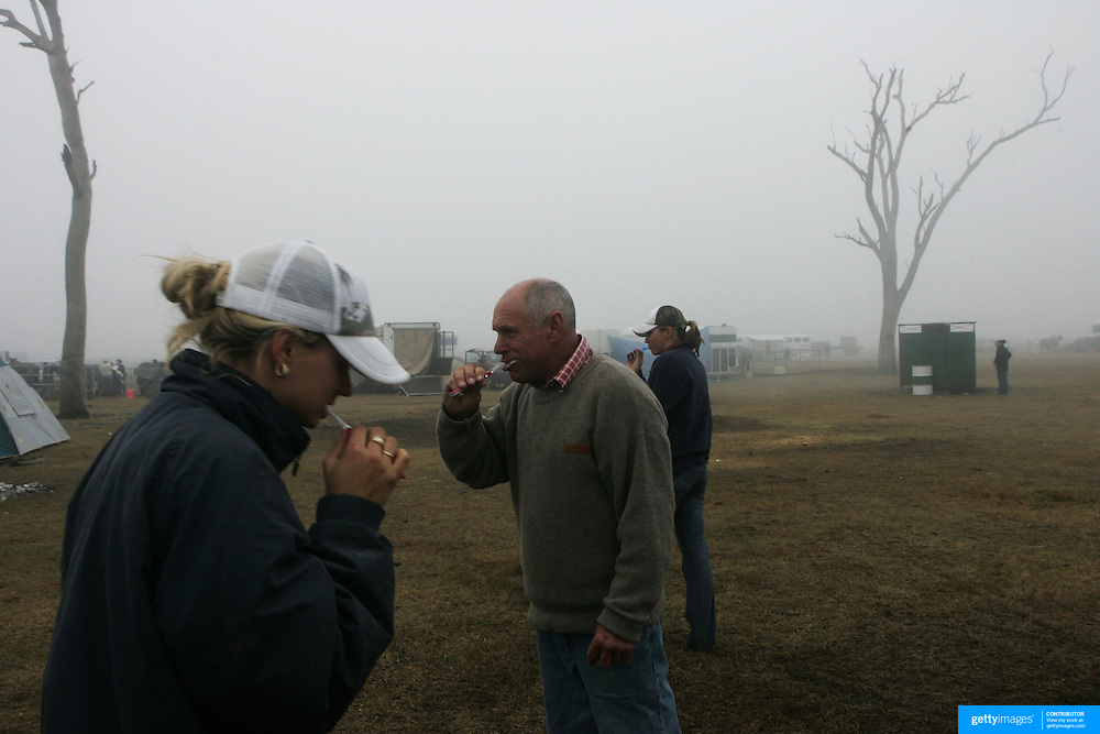 Early morning teeth clean at the NSW Polocrosse tournament at Muswellbrook, Country New South Wales, Australia.