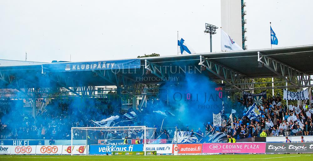 Klubipääty savuttaa ennen Helsingin paikallisottelua HJK-HIFK Veikkausliigassa. Sonera Stadium, Helsinki, Suomi. 6.7.2015.