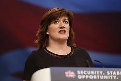 © Licensed to London News Pictures. 06/10/2015. Manchester, UK. Education Secretary NICKY MORGAN speaking at Conservative Party Conference at Manchester Central on Tuesday, 6 October 2015. Photo credit: Tolga Akmen/LNP