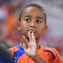BRISBANE, AUSTRALIA - APRIL 21: A Lions FC junior looks on before the Hyundai A-League Elimination Final match between the Brisbane Roar and Western Sydney Wanderers at Suncorp Stadium on April 21, 2017 in Brisbane, Australia. (Photo by Patrick Kearney/Brisbane Roar)