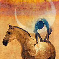 """Mystical figure balanced on a white horse with the sun and moon.<br /> <br /> :::::::::::::::::::::::::::::::::::::::::::::::::::::::::::::::::::::::::<br /> <br /> The Universe is worked and guided from within outwards. <br /> -Helena Blavatsky<br /> <br /> ................................................................<br /> <br /> Human beings and all living things are a coalescence of energy in a field of energy connected to every other thing in the world. This pulsating energy field is the central engine of our being and our consciousness, the alpha and the omega of our existence.<br /> Lynne McTaggart<br /> <br /> <br /> """"...the boundary between ourselves and other people and between ourselves and Nature, is illusion. Oneness is reality.""""<br /> -Charlene Spretnak"""