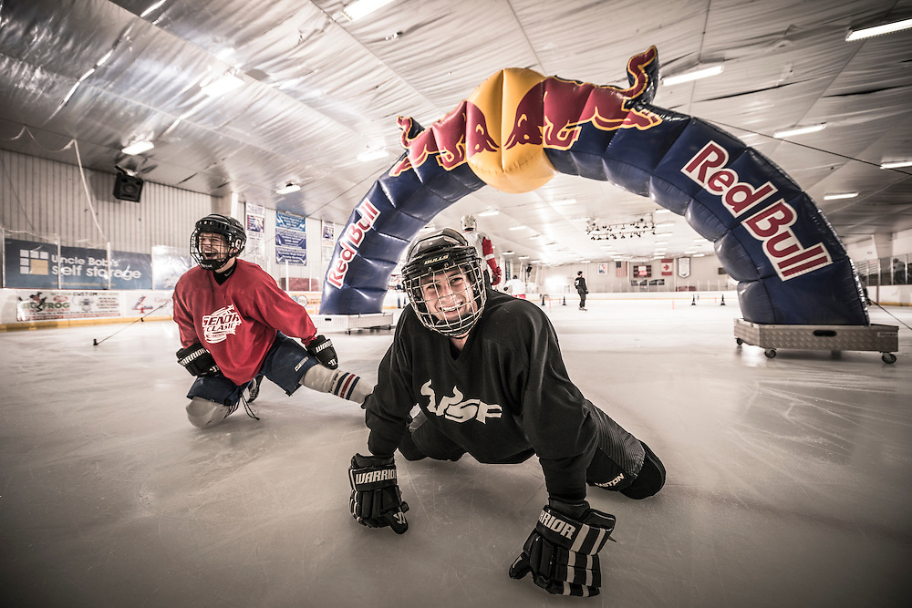 Particpants stretch at Red Bull Crashed Ice at the Tampa Bay Skating Academy in Tampa Bay, FL, USA on 4  January 2014.