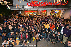 Group photo of invited guests at the Mooneyes Yokohama Hot Rod & Custom Show after-party at Mooneyes headquarters. Yokohama, Japan. December 7, 2015.  Photography ©2015 Michael Lichter.
