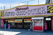 Coney Island's Eldorado Auto Skooter, a bumper car ride on Surf Avenue, where you can, as their sign says, bump your ass off.