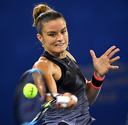 Sept. 28, 2017 - Wuhan, China - MARIA SAKKARI of Greece returns the ball during the singles quarterfinal match against A. Cornet of France at 2017 WTA Wuhan Open in Wuhan, capital of central China's Hubei Province. Sakkari won 2-0.  (Credit Image: © Cheng Min/Xinhua via ZUMA Wire)