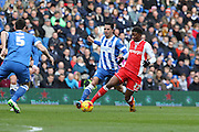 Brighton's Beram Kayal and Birmingham's Demarai Gray during the Sky Bet Championship match between Brighton and Hove Albion and Birmingham City at the American Express Community Stadium, Brighton and Hove, England on 21 February 2015.