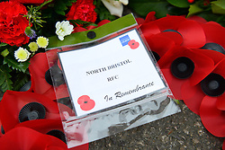 Wreaths are laid out at the Memorial Gates at the Memorial Stadium - Mandatory byline: Dougie Allward/JMP - 07966 386802 - 11/11/2015 - Memorial Stadium - Bristol, England- Memorial Service