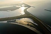 Nederland, Flevoland, Almere, 14-02-2017; Oostvaardersdijk en Oostvaardersplassen, gezien vanuit Lelystad, rechts IJsselmeer. In de voorgrond Hoekplas en Krentenplas.<br /> Nature reserve Oostvaardersplassen.<br /> <br /> luchtfoto (toeslag op standaard tarieven);<br /> aerial photo (additional fee required);<br /> copyright foto/photo Siebe Swart