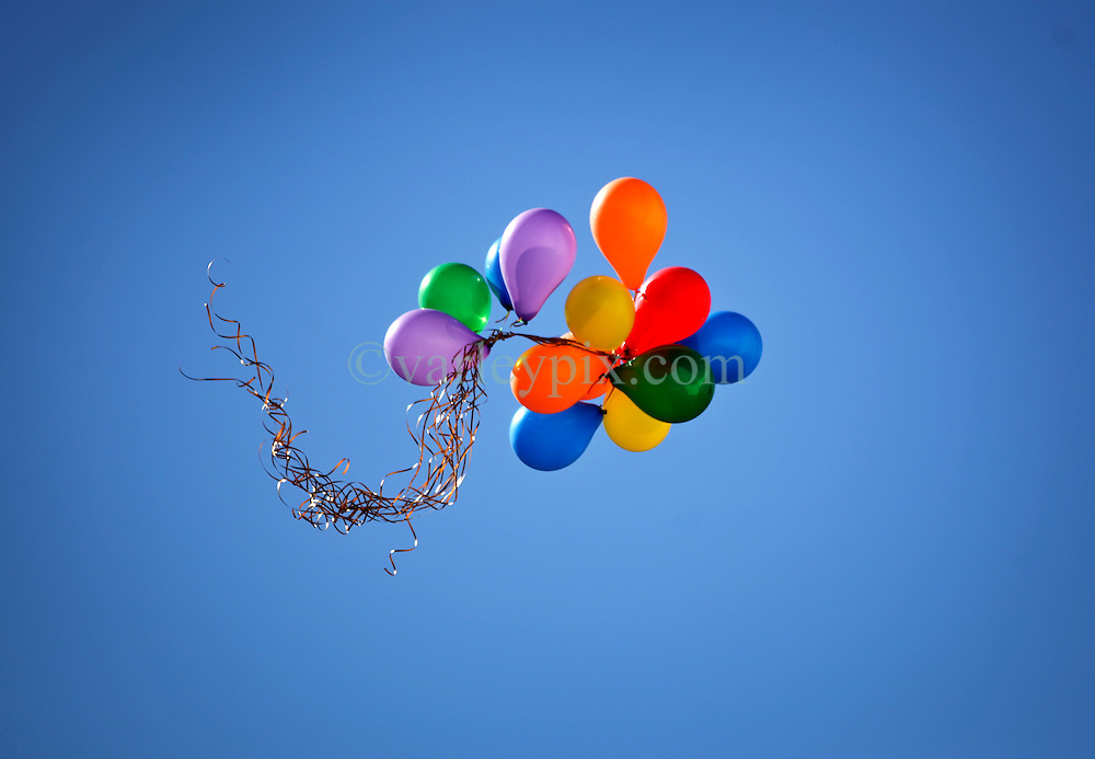 09 February 2016. New Orleans, Louisiana.<br /> Mardi Gras Day. Bright balloons float above the French Quarter. <br /> Photo©; Charlie Varley/varleypix.com