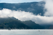 Aiguebelette, FRANCE,  General View of the lake  for Sunday Morning training, Misty and Low cloud conditions, at Lake Aiguebelette, Venue for the  2015 FISA World Rowing Championships,  Savoie. <br /> <br /> Sunday  06/09/2015  [Mandatory Credit. Peter SPURRIER/Intersport Images]. © Peter SPURRIER, Atmospheric, Rowing