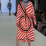 London,England,UK. 5th June 2017. Bath Spa University Graduate student showcases her latest collection at the Graduate Fashion Week 2017 Day 2 at The Old Truman Brewery. by See Li