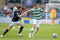 31/09/14 SCOTTISH PREMIERSHIP<br /> DUNDEE v CELTIC <br /> DENS PARK - DUNDEE<br /> Simon Ferry (left) tracks Celtic midfielder Stefan Johansen