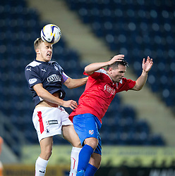 Falkirk's Will Vaulks and Cowdenbeath's Sean Higgins.<br /> Full time : Falkirk 0 v 0 Cowdenbeath, Falkirk win on penalties after extra time, second round League Cup tie played at The Falkirk Stadium.