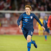 EAST HARTFORD, CONNECTICUT- October 16th: Josh Sargent #13 of the United States chased by Nilson Loyola #22 of Peru during the United States Vs Peru International Friendly soccer match at Pratt & Whitney Stadium, Rentschler Field on October 16th 2018 in East Hartford, Connecticut. (Photo by Tim Clayton/Corbis via Getty Images)