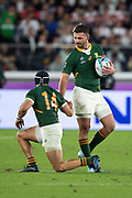 Willie Le Roux of South Africa helps to Cheslin Kolbe of South Africa during the Rugby World Cup  final match between England and South Africa at the International Stadium ,  Saturday, Nov. 2, 2019, in Yokohama, Japan. South Africa defeated England 32-12. (Florencia Tan Jun/ESPA-Image of Sport)