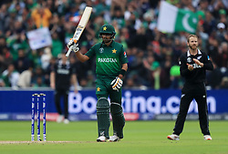 Pakistan's Babar Azam celebrates his 50 during the ICC Cricket World Cup group stage match at Edgbaston, Birmingham.