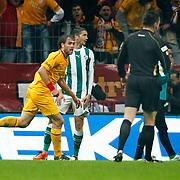 Galatasaray's Johan ELMANDER (L) celebrate his goal during their Turkish Super League soccer match Galatasaray between Bursaspor at the TT Arena at Seyrantepe in Istanbul Turkey on Sunday 16 October 2011. Photo by TURKPIX