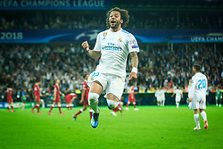 Marcelo of Real Madrid celebrates after they won 3-1 during the UEFA Champions League final football match between Liverpool and Real Madrid and became Champions League  2018 Champions third time in a row at the Olympic Stadium in Kiev, Ukraine on May 26, 2018.Photo by Sandi Fiser / Sportida