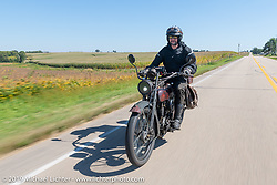 Motorcycle Cannonball coast to coast vintage run. Stage 6 (260 miles) from Bourbonnais, IL to Cedar Rapids, IA. Thursday September 13, 2018. Photography ©2018 Michael Lichter.