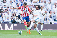Real Madrid Marcelo and Atletico de Madrid Vitolo Machin during La Liga match between Real Madrid and Atletico de Madrid at Santiago Bernabeu Stadium in Madrid, Spain. April 08, 2018. (ALTERPHOTOS/Borja B.Hojas)