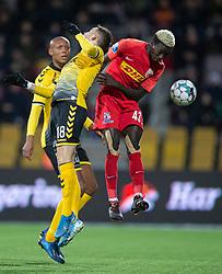 Mohammed Diomande (FC Nordsjælland) i duel med Louka Prip (AC Horsens) under kampen i 3F Superligaen mellem FC Nordsjælland og AC Horsens den 19. februar 2020 i Right to Dream Park, Farum (Foto: Claus Birch).