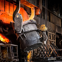 Scunthorpe - Heavy End - Steel Production - Basic Oxygen Steelmaking - Oxygen converter furnace being charged with molten iron from ladle