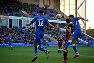 Peterborough United defender Tyler Denton (23) and Peterborough United defender Ryan Tafazolli (5) trying to get on the  end of this cross during the EFL Sky Bet League 1 match between Peterborough United and Bradford City at The Abax Stadium, Peterborough, England on 17 November 2018.