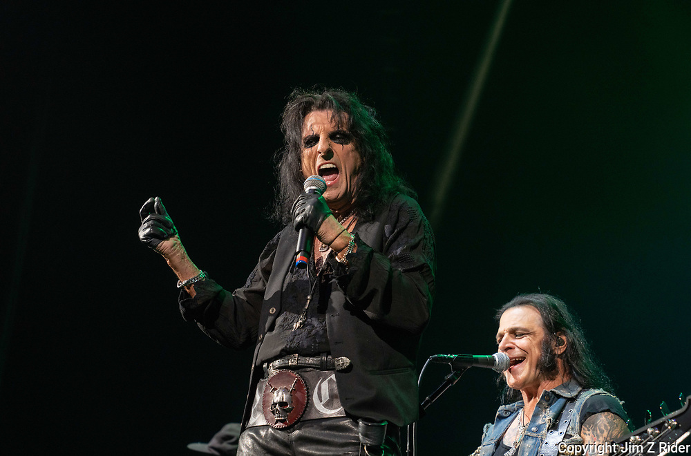After nearly 19 months off stage, Rock and Roll legend ALICE COOPER, 73, launches his fall 2021 tour at Ocean Casino Resort in Atlantic City, New Jersey.  Base player CHUCK GARRIC, is at right.