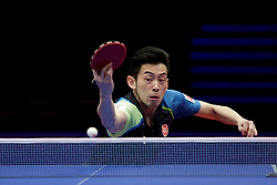 BREMEN, March 25, 2018  Chinese Hong Kong's Wong Chun Ting competes during the men's singles semifinal match against China's Ma Long at the 2018 ITTF World Tour Platinum German Open in Bremen, Germany, on March 25, 2018. Wong Chun Ting lost 2-4. (Credit Image: © Binh Truong/Xinhua via ZUMA Wire)
