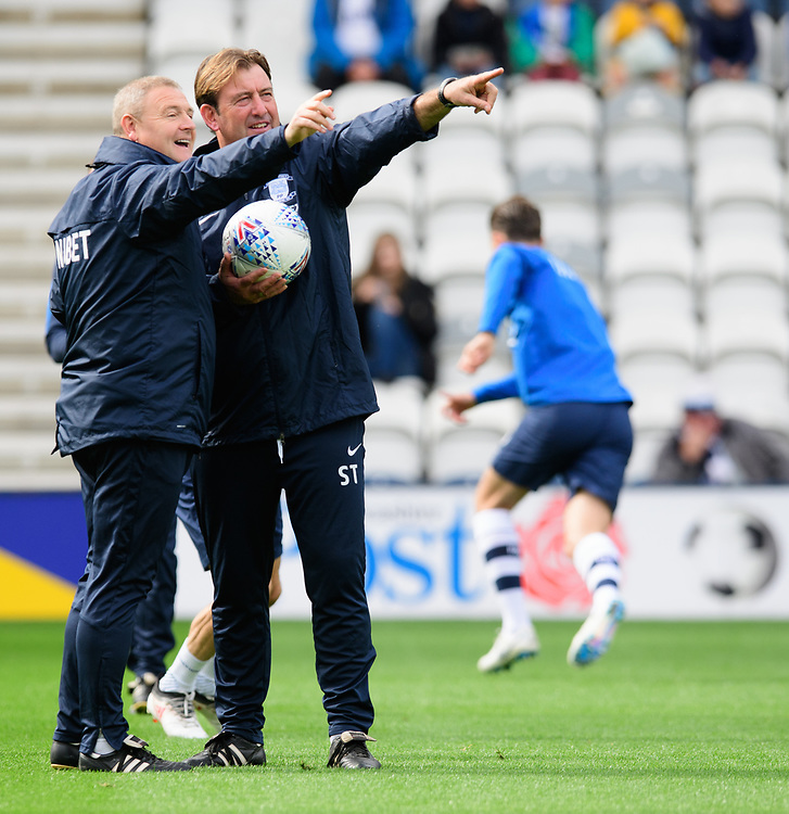 Preston North End's first team coach Frankie McAvoy, left, and Preston North End's first team coach Steve Thompson during the pre-match warm-up<br /> <br /> Photographer Chris Vaughan/CameraSport<br /> <br /> The EFL Sky Bet Championship - Preston North End v Reading - Saturday 15th September 2018 - Deepdale - Preston<br /> <br /> World Copyright © 2018 CameraSport. All rights reserved. 43 Linden Ave. Countesthorpe. Leicester. England. LE8 5PG - Tel: +44 (0) 116 277 4147 - admin@camerasport.com - www.camerasport.com