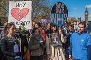 Dr Anjani Knobel and Dr Melissa Haskins, a first year in acute medecine (with circular placard) - The picket line at St Thomas' Hospital. Junior Doctors stage a 7 day all out strike action, this time imncluding accident and emergency coverage. They are striking against the new contracts due to be imposed by the Governemnt and health minister Jeremy Hunt. They are supported by the British Medical Association.