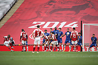 Football - 2020 Emirates 'Heads Up' FA Cup Final - Arsenal vs. Chelsea <br /> <br /> Alexandre Lacazette takes a free-kick, at Wembley Stadium.<br /> <br /> The match is being played behind closed doors because of the current COVID-19 Coronavirus pandemic, and government social distancing/lockdown restrictions.