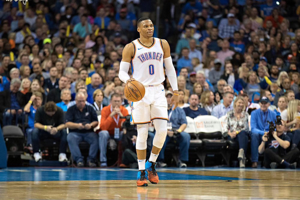 OKLAHOMA CITY, OK - OCTOBER 25:  Russell Westbrook #0 of the Oklahoma City Thunder dribbles down the court during a game against the Indiana Pacers at the Chesapeake Energy Arena on October 25, 2017 in Oklahoma City, Oklahoma.  NOTE TO USER: User expressly acknowledges and agrees that, by downloading and or using this photograph, User is consenting to the terms and conditions of the Getty Images License Agreement.  The Thunder defeated the Pacers 114-96.  (Photo by Wesley Hitt/Getty Images) *** Local Caption *** Russell Westbrook