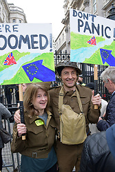 Put it to the People demonstration in central London against Brexit and an appeal for a Peoples Vote on a final Deal. Homage to Dad's Army. London UK 23 March 2019