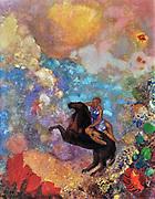 Bertrand-Jean Redon, better known as Odilon Redon (April 20, 1840 – July 6, 1916) French Symbolist painter 'The Black Pegasus' 1909-1910