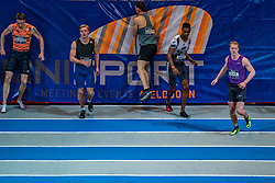 Rik Taam, Rafael Raap,  Sven Roosen in action on the 60 meters during the Dutch Athletics Championships on 13 February 2021 in Apeldoorn
