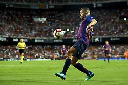 October 8, 2018 - Valencia, Valencia, Spain - Jordi Alba, controls the ball during the week 8 of La Liga match between Valencia CF and FC Barcelona at Mestalla Stadium in Valencia, Spain on October 7, 2018. (Credit Image: © Jose Breton/NurPhoto/ZUMA Press)