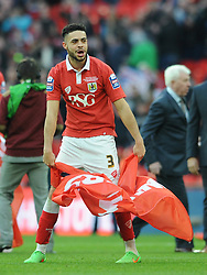 Bristol City's Derrick Williams celebrates winning the Johnstone Paint Trophy - Photo mandatory by-line: Dougie Allward/JMP - Mobile: 07966 386802 - 22/03/2015 - SPORT - Football - London - Wembley Stadium - Bristol City v Walsall - Johnstone Paint Trophy Final