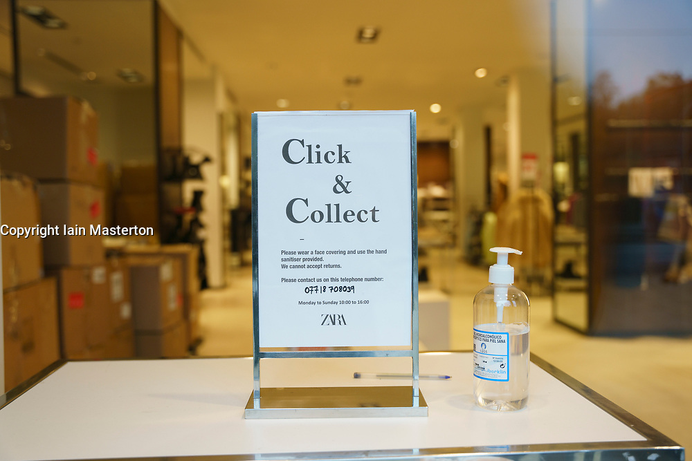 Edinburgh, Scotland, UK. 13 January 2020. Shops in Scotland now generally prohibited from offering Click and Collect service from front doors with some exceptions depending on type of goods on sale. Pic: sign by door of closed shop.  Iain Masterton/Alamy Live News