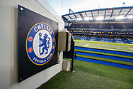 General stadium view inside Stamford Bridge, inside the tunnel showing the Chelsea club badge, before the Europa League match between Chelsea and Malmo FF at Stamford Bridge, London, England on 21 February 2019.