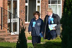 © Licensed to London News Pictures. 20/02/2013. Eastleigh, UK Boris Johnson and Maria Hutchins walk through housing in Stamford Way. London Mayor and member of the Conservative Party, Boris Johnson, and Conservative Candidate Maria Hutchins campaigning in the Eastleigh By-Election today 20th February in Stamford way, Eastleigh. Photo credit : Stephen Simpson/LNP